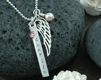 In Remembrance - Sympathy - Personalized Necklace - Angel Wing and bar Sterling Silver