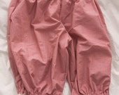 Dark Pink stripe cotton Long Lolita Bloomers with cotton lace size M
