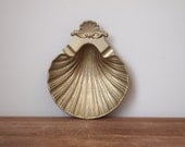 vintage brass clam shell dish or ashtray, trinket dish, only 1 left