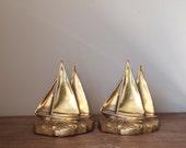 brass bookends, sailboats, Philadelphia Manufacturing Co, vintage nautical decor, office decor