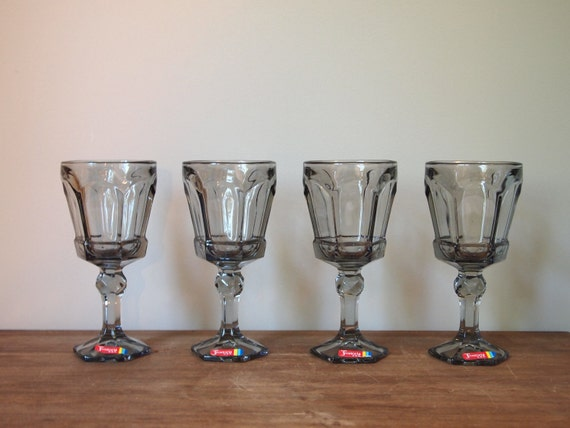 vintage wine glasses or goblets Fostoria Virginia smokey grey set of 4 vintage barware 1980s