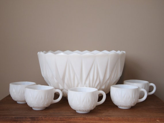 vintage punch bowl set with 12 cups white milk glass retro. Black Bedroom Furniture Sets. Home Design Ideas