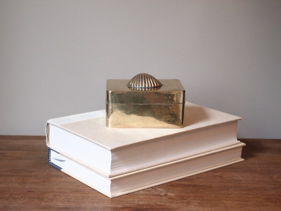 vintage brass box with a shell on top trinket box business card holder nautical decor