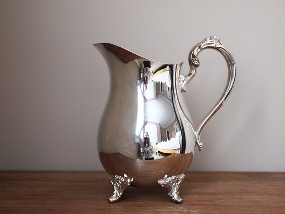 vintage pitcher silver plated footed silverplate flower vase holiday serving