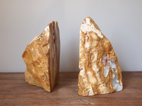 vintage bookends natural stone caramel and white colored