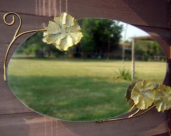 "Metal Mirror with handmade flowers 18""X30"""