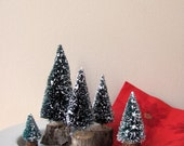 Bottle Brush Trees Green with Snow and Wood Bark Base All One Price