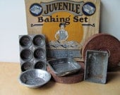 Child's Bake Set in Original Box Bakeware Muffin Tin Loaf Pan Pie Plate and 2 Square Dishes