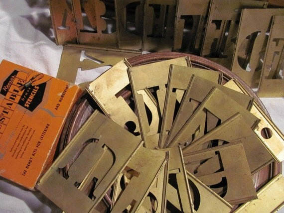 Reese S Brass Adjustable Stencils Complete A Z In Box