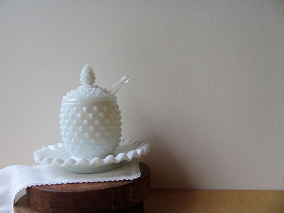 Fenton Jelly Jar Jam Jar Mustard Jar Milk Glass Hobnail Spoon Underplate All Original
