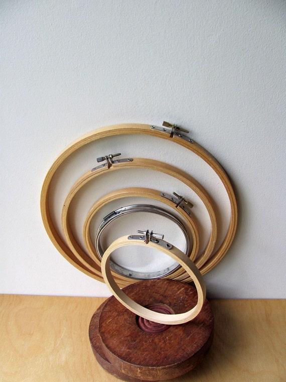 5 Vintage Embroidery Hoops Four Wood, One Metal Complete Very Nice