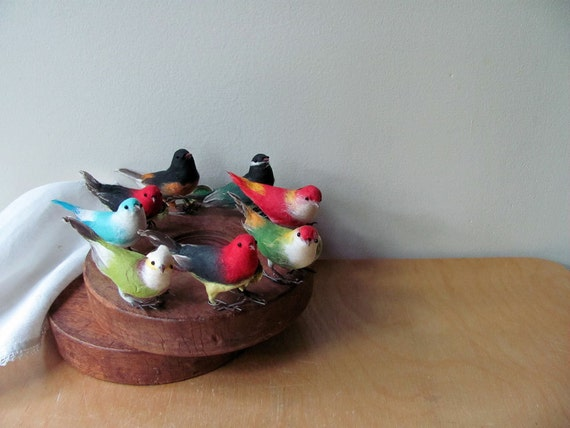 Birds Spun Cotton 8 Colorful Beautiful Tweeters, Dexters Tags in Place All 8 for One Price