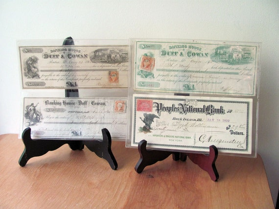 Collectible Money Four 1800s Cancelled Checks All Different Cheques from Banking House Wonderful Condition All One Price