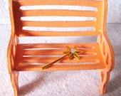 Miniature Fairy Garden Bench: Coral Peach, Magic Wand