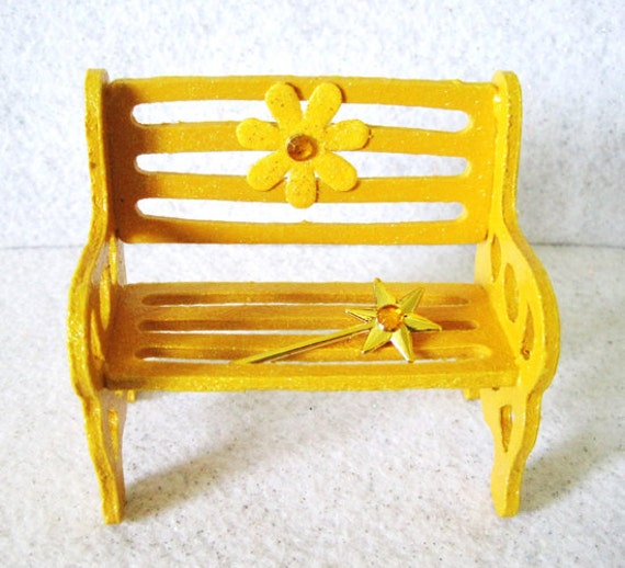 fairy garden miniature bench yellow marigold by
