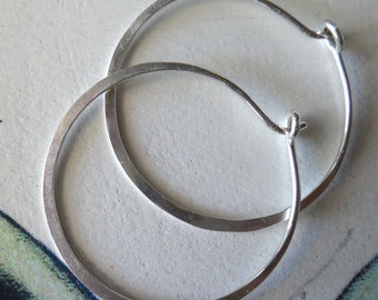 Large 1 1/4 Inch Hammered Hoops in Solid Sterling Silver, Endless Hoops, Silver with Texture