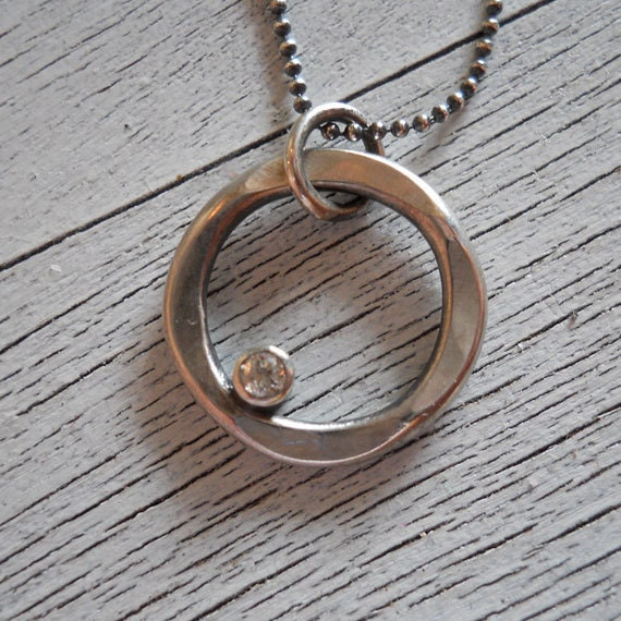 Diamond Pendant Necklace, Hammered Silver Circle Necklace, 2mm White Diamond Pendant