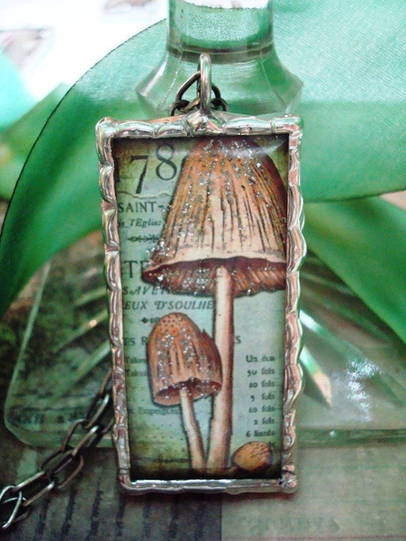 Vintage Mushroom and Owl Images Glass Soldered Charm