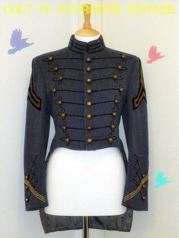 Vintage 80s Military Uniform Cadet Band Tuxedo Jacket