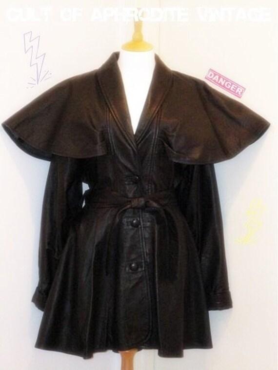 Vintage 80s Black Leather CAPE Belted Dress COAT
