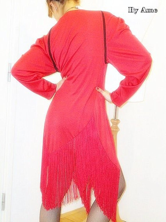 RESERVED // SALE Vintage 80 Red Disco Fringe Flapper Jacket DRESS