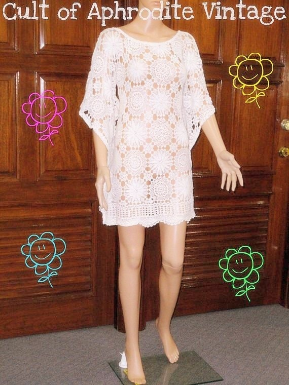 RESERVED //19/11/13// SALE Vintage 70s Crochet Floral Cutout Angel Sleeves Body Con Mini DRESS