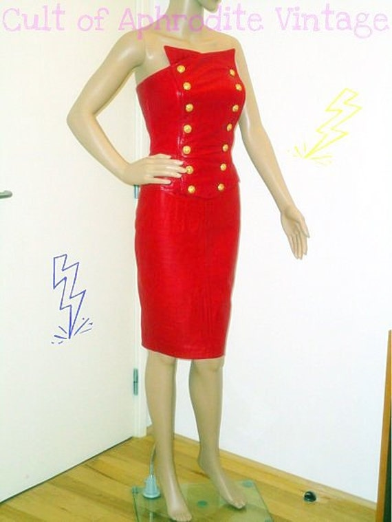 Vintage 80s NORTH BEACH Leather Military Style DRESS