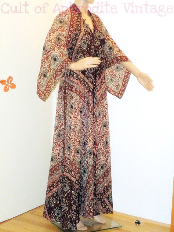 RESERVED // Vintage 70s Indian Ethnic ADINI Metallic Cotton Maxi Caftan DRESS