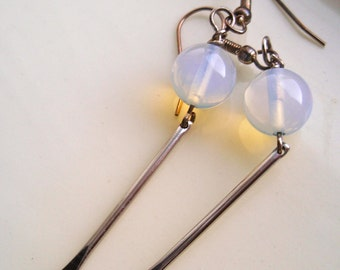 Round Opalite with Silver Paddle Earrings, White Earrings, Opalite Earrings, Silver Earrings