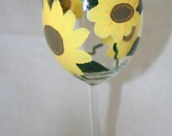 sunflowers wineglass hand painted