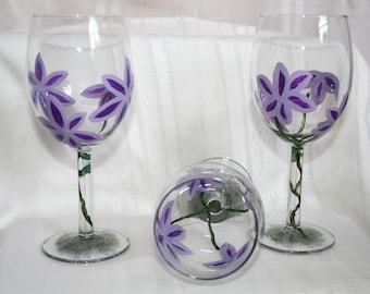 purple flower wineglass hand painted