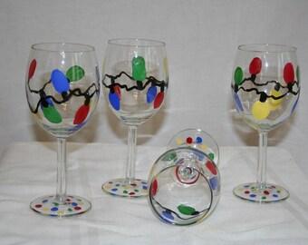 christmas lights hand painted wineglass