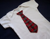 Red and Black Plaid Tie Onesie - Only 2 Left - 3 and 12 Months