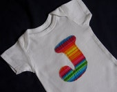 Rainbow Initial Onesie - You Choose the Letter