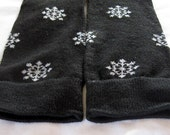 Black Leg Warmers with Sparkly White Snowflakes