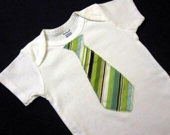 Green Striped Tie Onesie