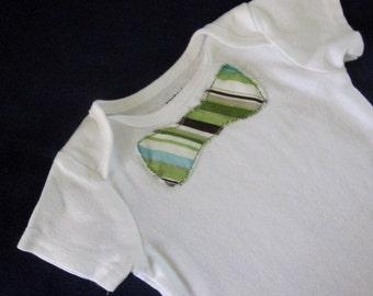 Green Stripe Bow Tie Onesie