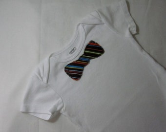 Brown Striped Bow Tie Onesie