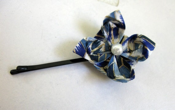 Blue Origami Flower Hair Pin