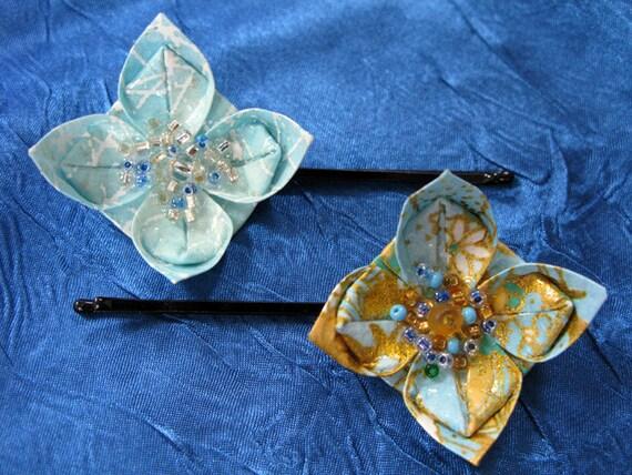 Pair of Light Blue Themed Origami Flower Hair Pins