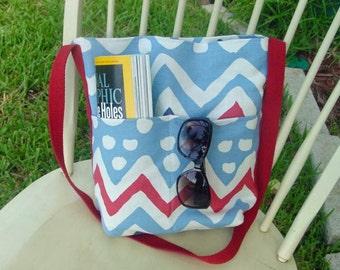 Red, White and Blue Linen Shoulder Bag