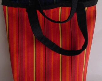 Tote, beach bag, book bag, crafts bag, striped cotton,