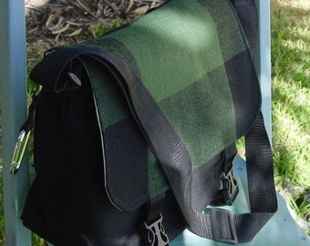 Green Wool and Black Denim Messenger Bag, Diaper Bag, Gadget Bag, School Bag