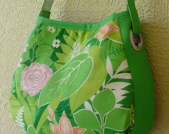 Large Tropical Print Tote, Shopping, Book Bag, Diaper Bag, Shoulder Bag