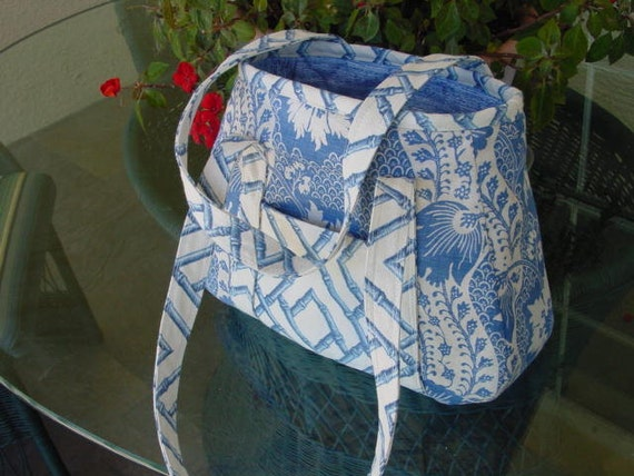 Large Delft Blue and White Tote, Shopping, Books, Crafts, Diaper