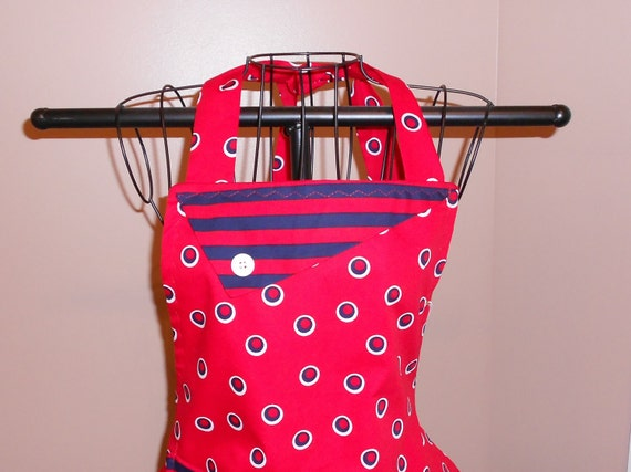 Red and Navy Striped/Polka Dot Apron