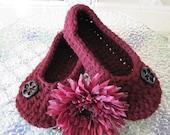 House Slippers, Crochet Slippers, Spa Slippers, Women Slippers, Burgundy, House Shoes, Women Crochet slippers