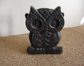 Vintage Iron Owl Letter Holder