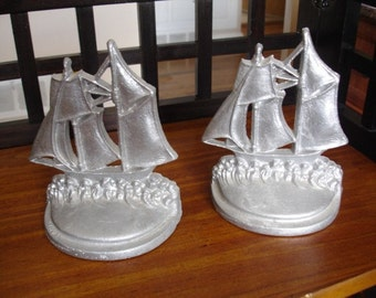 Pair of Aluminum Ship Bookends