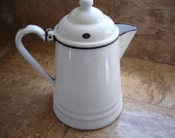 Very cool vintage metal and porcelain Coffee Pot